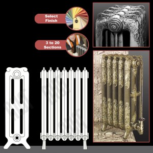 "The ""Charlestone"" 765mm (H) 3 Column Traditional Victorian Cast Iron Radiator (3 to 20 Sections Wide) - Choose your Finish"