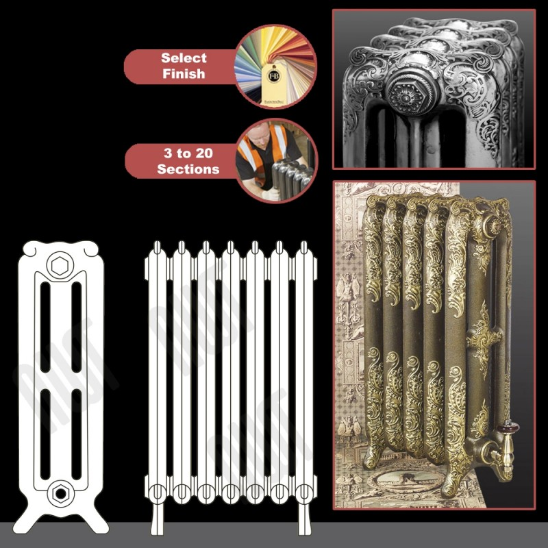 """The """"Charlestone"""" 765mm (H) 3 Column Traditional Victorian Cast Iron Radiator (3 to 20 Sections Wide) - Choose your Finish"""