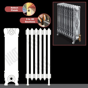 """The """"Alexandria"""" 800mm (H) Traditional Victorian Cast Iron Radiator (3 to 20 Sections Wide) - Choose your Finish"""
