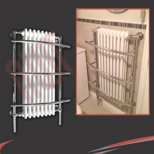 "635mm (w) x 1000mm (h) ""Tranmere"" Traditional Wall Mounted Towel Rail Radiator"