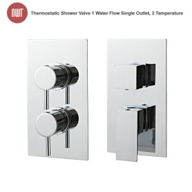 Chrome Thermostatic Shower Valve (Handle:1 Water Flow Single Outlet, Handle:2 Temperature)