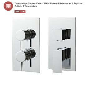 Chrome Thermostatic Shower Valve (Handle:1 Water Flow 2 Outlets, Handle:2 Temperature)