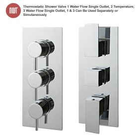 Chrome Thermostatic Shower Valve (Handle:1 & 3 Water Flow Single Outlet, Handle:2 Temperature)