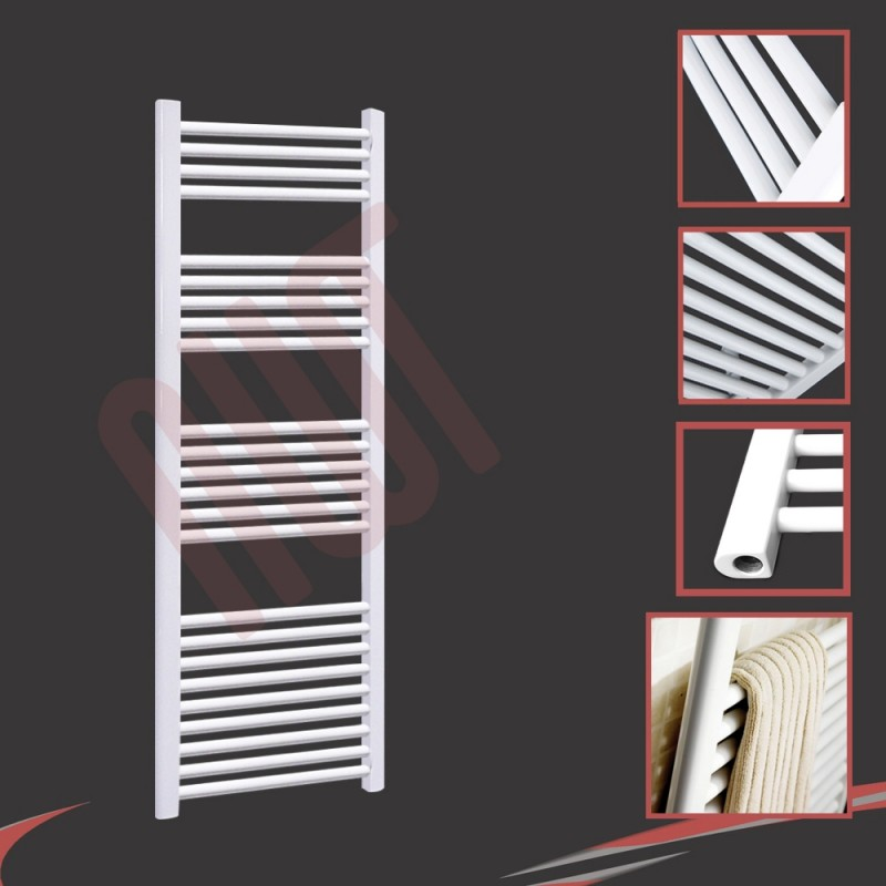600mm (w) x 1500mm (h) Straight White Towel Rail