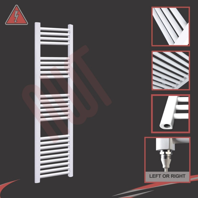 """300mm (w) x 1500mm (h) Electric """"Straight White"""" Towel Rail (Single Heat or Thermostatic Option)"""