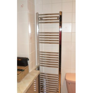 400mm (w)  x 1400mm (h) Electric Curved Chrome Towel Rail (Single Heat or Thermostatic Option)