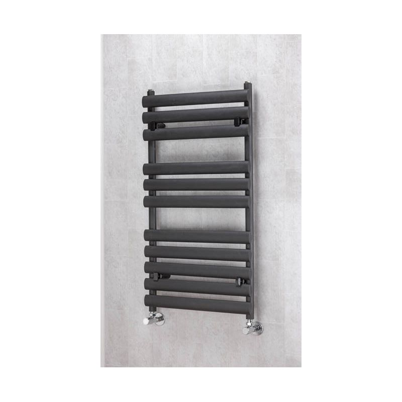 300mm Wide Black Designer Electric Heated Towel Rail: 500mm X 930mm Electric Brecon Black Oval Tube Towel Rail