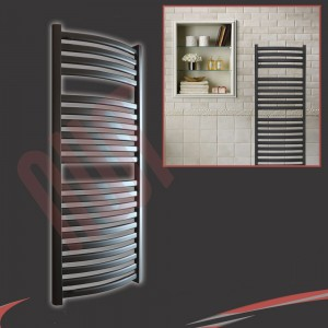 500mm(w) x 1100mm(h) Ellipse Black Towel Rail