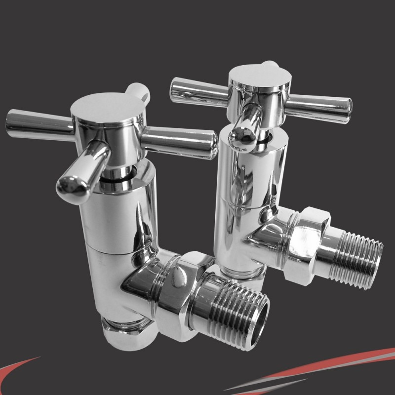 Angled Chrome Cross Head Valves for Radiators & Towel Rails (Pair)