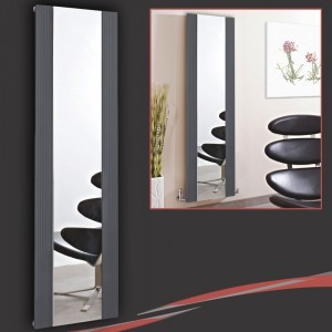 "465mm (w) x 1700mm (h) ""Newborough"" Anthracite Flat Panel Aluminium Mirror Radiator"