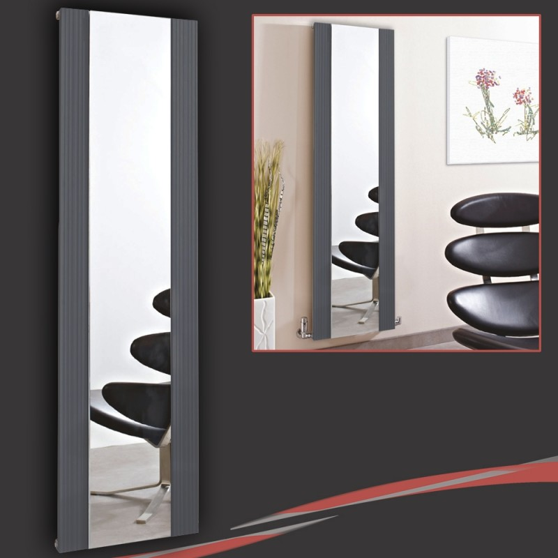 465mm (w) x 1700mm (h) Newborough Anthracite Flat Panel Aluminium Mirror Radiator