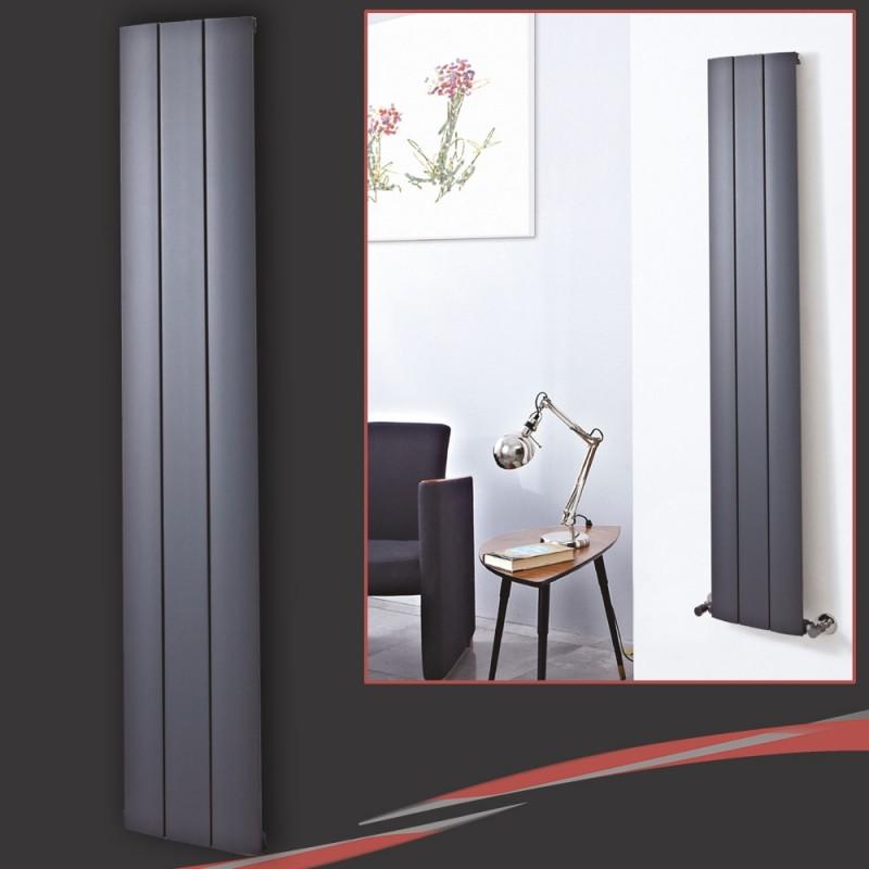 280mm (w) x 1600mm (h) Thor Anthracite Vertical Aluminium Radiator (3 Extrusions)