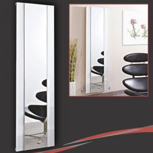 "465mm (w) x 1700mm (h) ""Newborough"" White Flat Panel Aluminium Mirror Radiator"