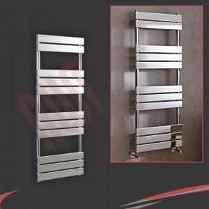 500mm x 1300mm Vega Chrome Heated Designer Towel Rail Towel Warmer Radiator