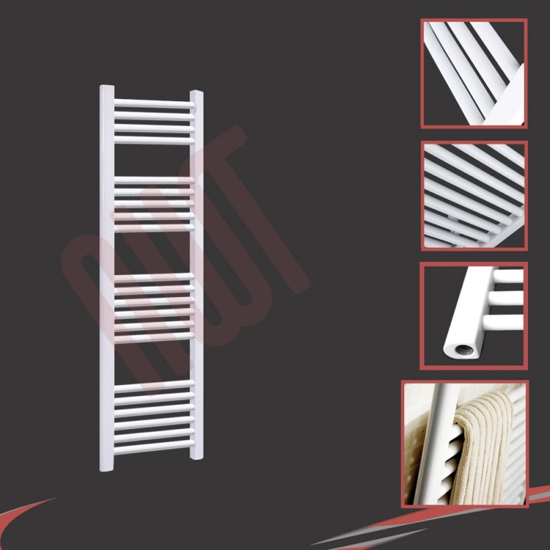 300mm (w) x 1200mm (h) Straight White Towel Rail