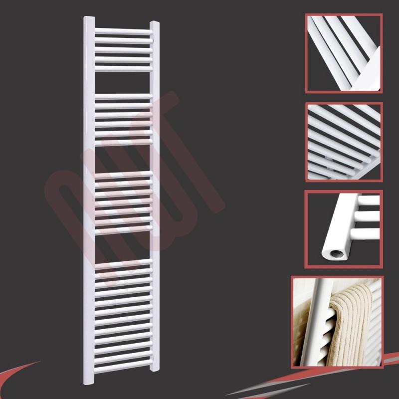 300mm (w) x 1800mm (h) Straight White Towel Rail