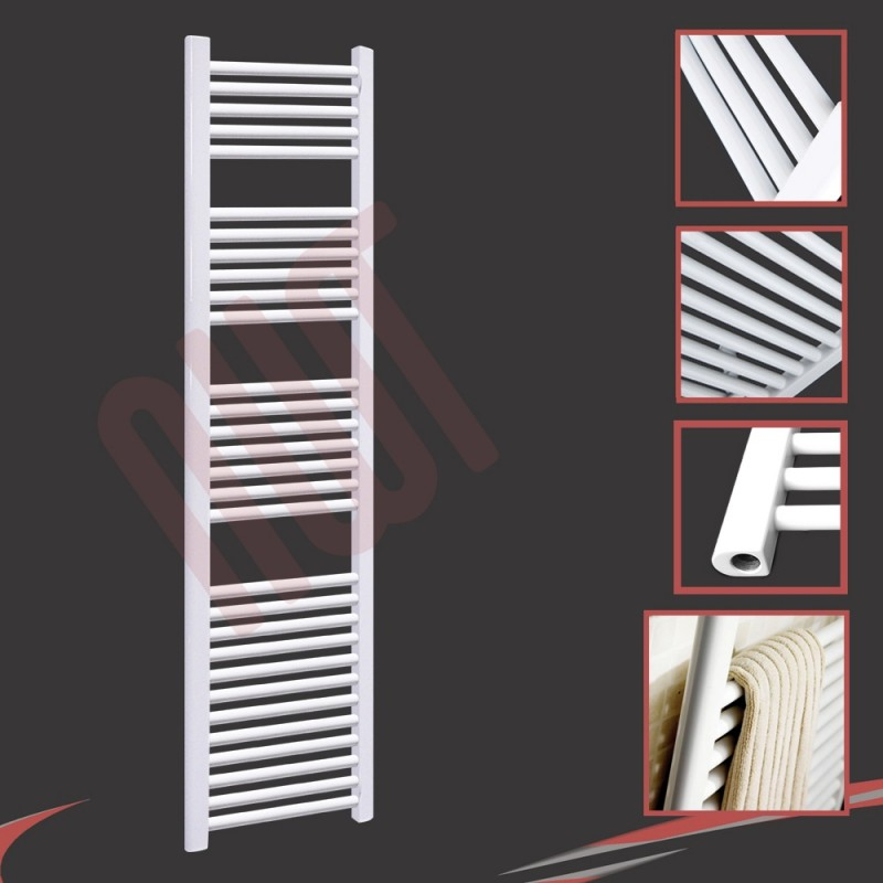 400mm (w) x 1800mm (h) Straight White Towel Rail