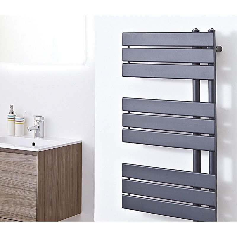 500mm W X 800mm H Quot Apollo Quot Anthracite Heated Towel