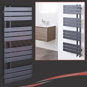 500mm (w) x 1200mm (h) Apollo Anthracite Heated Towel Rail