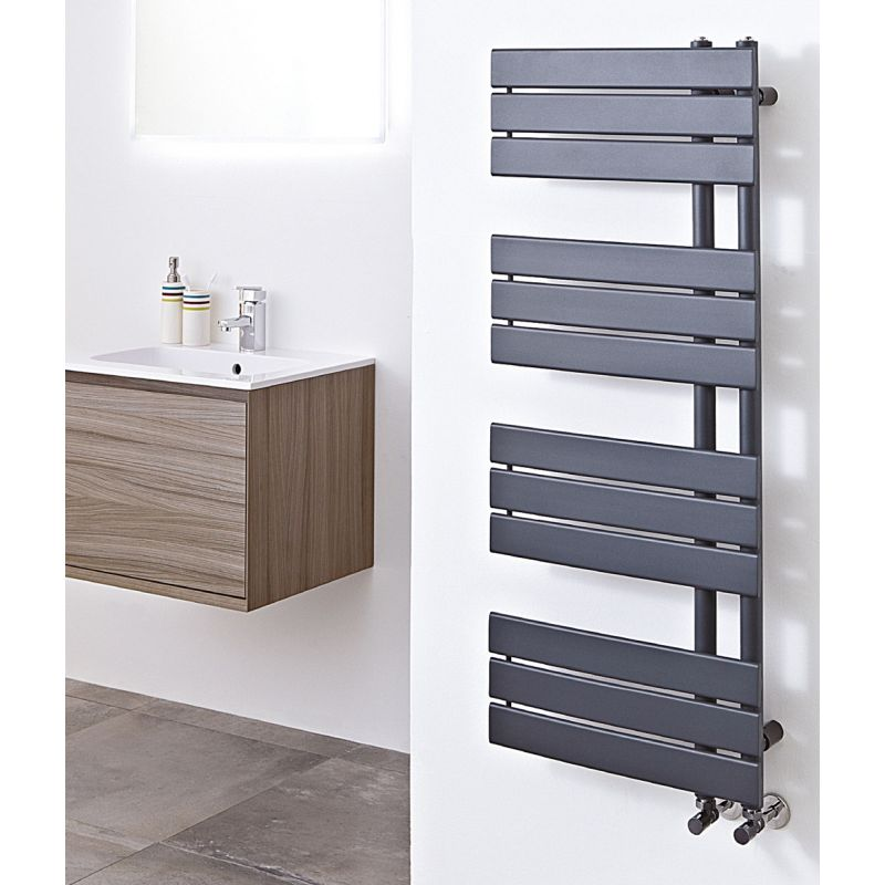 500mm W X 1200mm H Apollo Anthracite Heated Towel Rail