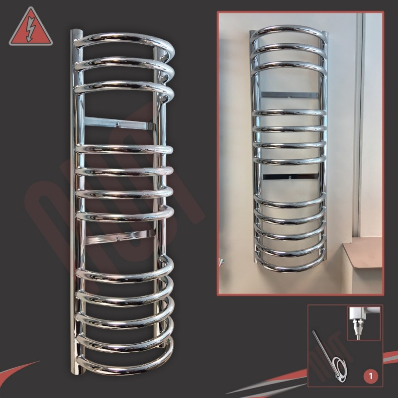 300mm (w) x 900mm (h) Electric Buckley Chrome Towel Rail (Single Heat or Thermostatic Option)