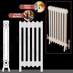 "The ""Mayfair"" 2 Column 640mm (H) Traditional Victorian Cast Iron Radiator (3 to 40 Sections Wide) - Choose your Finish"