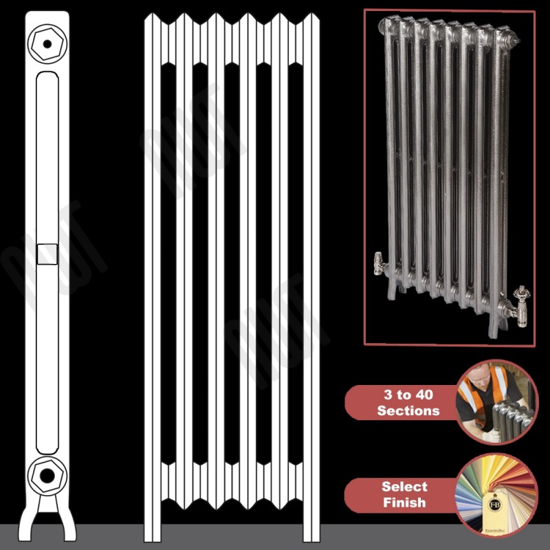 """The """"Mayfair"""" 2 Column 1040mm (H) Traditional Victorian Cast Iron Radiator (3 to 40 Sections Wide) - Choose your Finish"""