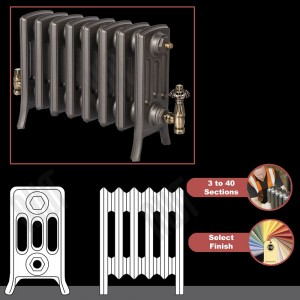 "The ""Mayfair"" 4 Column 360mm (H) Traditional Victorian Cast Iron Radiator (3 to 40 Sections Wide) - Choose your Finish"
