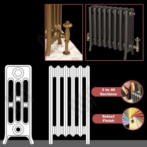 "The ""Mayfair"" 4 Column 475mm (H) Traditional Victorian Cast Iron Radiator (3 to 40 Sections Wide) - Choose your Finish"