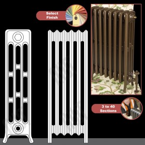 "The ""Mayfair"" 4 Column 760mm (H) Traditional Victorian Cast Iron Radiator (3 to 40 Sections Wide) - Choose your Finish"
