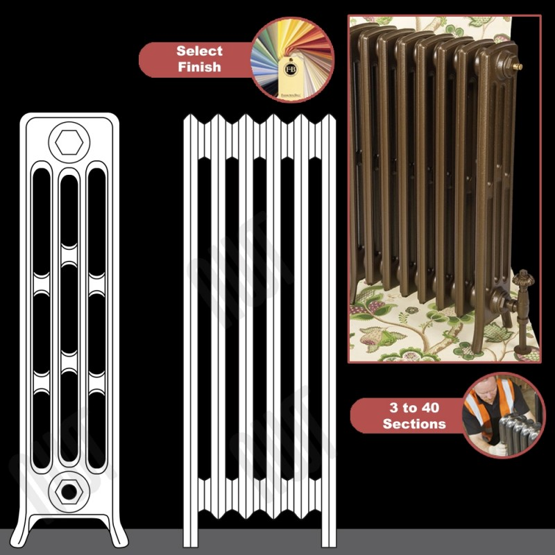 """The """"Mayfair"""" 4 Column 760mm (H) Traditional Victorian Cast Iron Radiator (3 to 40 Sections Wide) - Choose your Finish"""