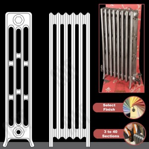 "The ""Mayfair"" 4 Column 960mm (H) Traditional Victorian Cast Iron Radiator (3 to 40 Sections Wide) - Choose your Finish"
