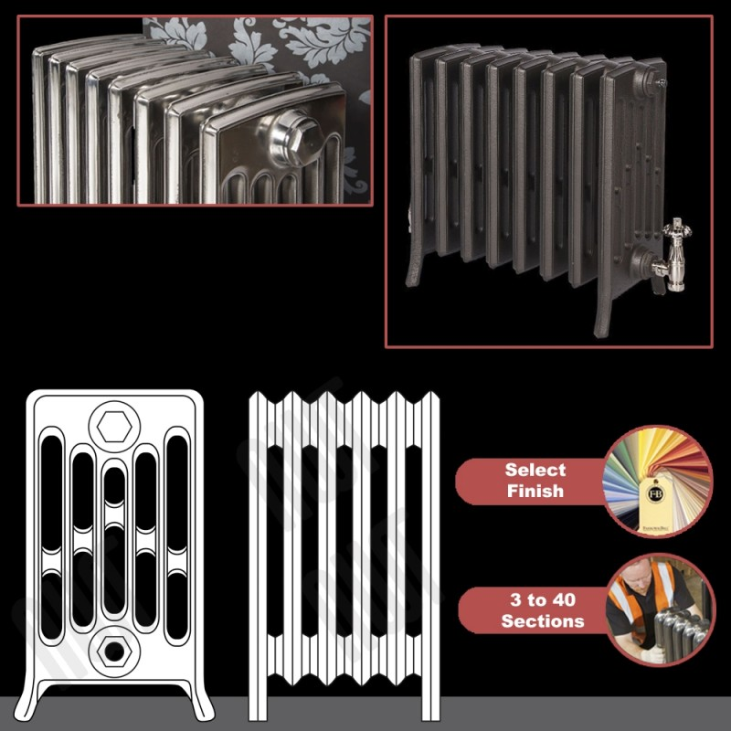 """The """"Mayfair"""" 6 Column 485mm (H) Traditional Victorian Cast Iron Radiator (3 to 40 Sections Wide) - Choose your Finish"""