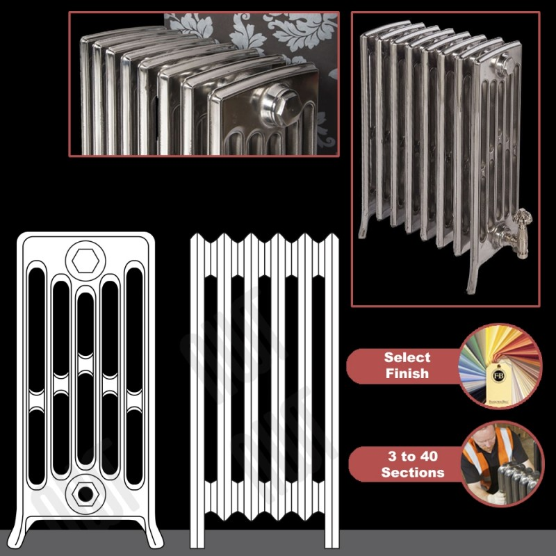 """The """"Mayfair"""" 6 Column 660mm (H) Traditional Victorian Cast Iron Radiator (3 to 40 Sections Wide) - Choose your Finish"""
