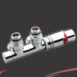 Angled Underside Euro Connection Chrome Thermostatic Valves for Radiators & Towel Rails (Pair)