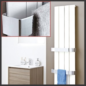 "Chrome Towel Bar for Single Panel ""Wave and Flow"" Aluminium Radiators"