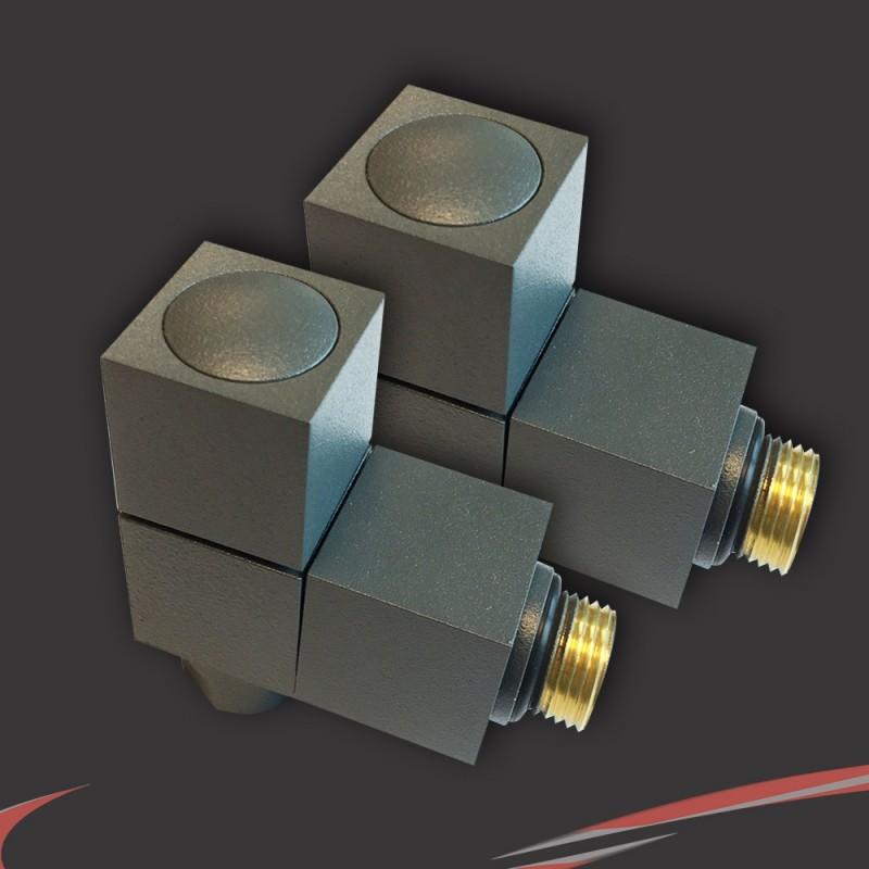 Angled Anthracite Valves for Radiators & Towel Rails (Pair)