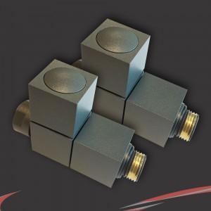 Straight Anthracite Valves for Radiators & Towel Rails (Pair)