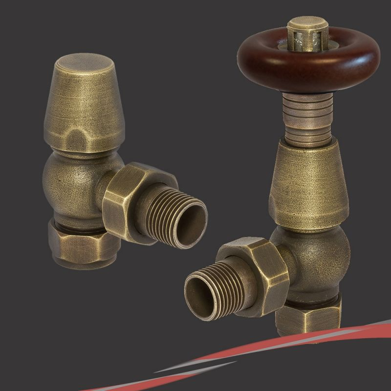 Polished Chrome Traditional Round Top Angled Thermostatic Valves for Radiators