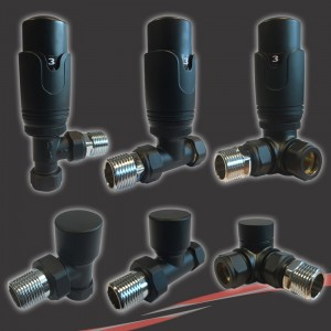 Black Thermostatic Valves for Radiators & Towel Rails (Pair of Angled, Straight or Corner)