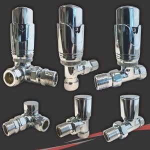 Chrome Thermostatic Valves for Radiators & Towel Rails (Pair of Angled, Straight or Corner)