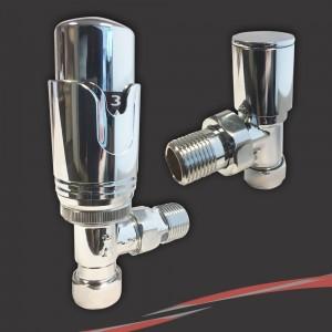 Chrome Thermostatic Valves for Radiators & Towel Rails (Pair of Angled, Straight or Corner)