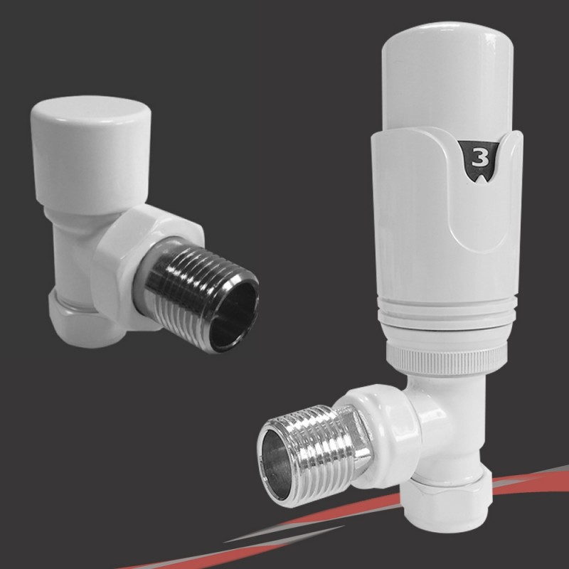 White Thermostatic Valves for Radiators & Towel Rails (Pair of Angled, Straight or Corner)