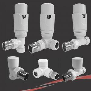White Thermostatic Valves for Radiators & Towel Rails (Pair of Angled, Straight or Corner)
