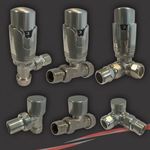 Brushed Nickel/Stainless Steel Thermostatic Valves for Radiators & Towel Rails (Pair of Angled, Straight or Corner)
