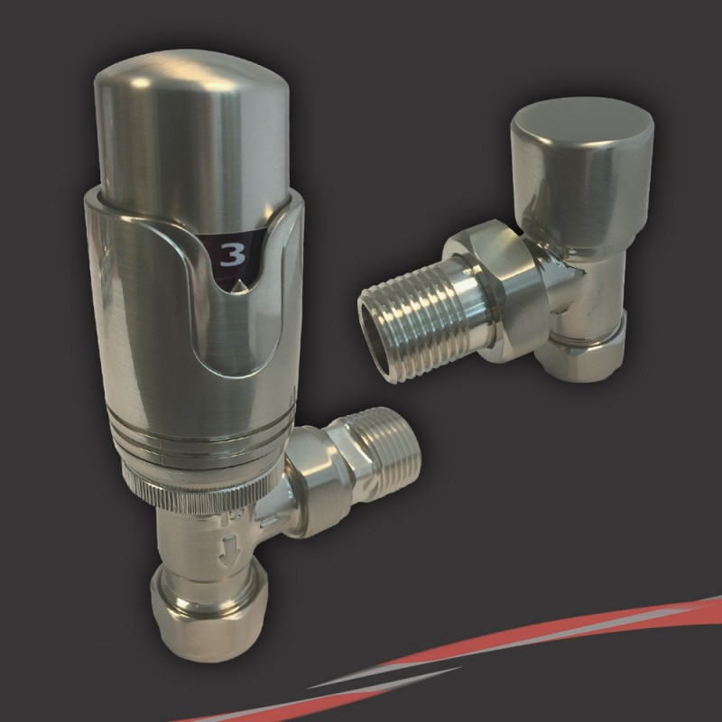 Brushed Nickel Thermostatic Valves for Radiators & Towel Rails (Pair of Angled, Straight or Corner)