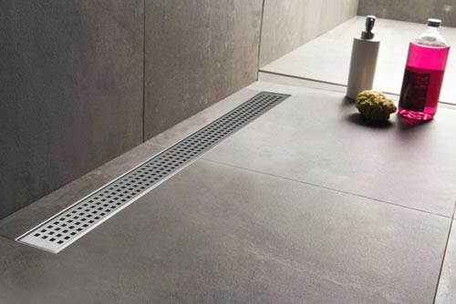 Wetroom Drain installed into a large tiled floor