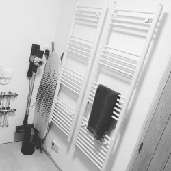 Why just have 1 when you can have 2! Functional white electric towel rails & timer! #plumbing #heating #plumbers #electrician #homedecor #interiordesign #interiorstyling #homeinspo #designinspiration