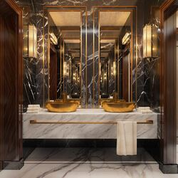 Very Regal Looking Gold Twin Sinks😍  #interior #interiordesign #newhome #decor #interiorinspo #decorinspo #plumbing #plumbinglife #houserenevation #renevation #traditional #interiordesign #interiorstyling #interiordecor #bathroomsofinsta #luxurybathroom #luxurysuite #bathtub #amazinghome #newbathroom #interior #decor #homeinspo #towel #todayspic #twinsinks #sink