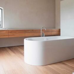 Wooden Flooring and Wall Hung Units with a Complimentary White Freestanding Bath💦🛀.  #interior #interiordesign #newhome #decor #interiorinspo #decorinspo #plumbing #plumbinglife #houserenevation #renevation #traditional #interiordesign #interiorstyling #interiordecor #bathroomsofinsta #luxurybathroom #luxurysuite #bathtub #amazinghome #newbathroom #interior #decor #homeinspo #towel #todayspic #heat #bathroomdesign